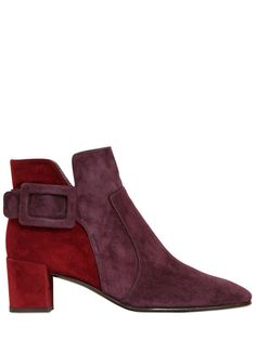 ROGER VIVIER - 45MM POLLY TWO TONE SUEDE ANKLE BOOTS - LUISAVIAROMA