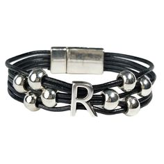 Initial R Leather Bracelet. Black leather with silver initial and beads. #wrapyourstyle #initialjewelry #initialbracelets #initialleatherbracelets