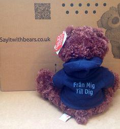 Swedish bear done by Personalised Teddy Bears, Crochet Hats, Personalized Teddy Bears, Knitting Hats