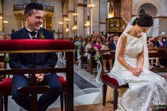 Simpático momento de la ceremonia donde los novios ríen ante el Altar de la Basílica de Nuestra Señora del Socorro de Aspe, Alicante