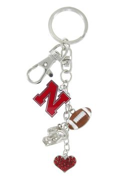 Red Nebraska N Football Combo Key Chain with Red Heart