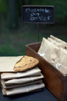chocolate chip cookie favor in a kraft bag, tied with twine