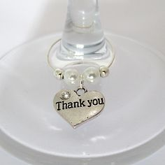 Thank You CZ Silver Heart...Bottle and/or wine glass charm