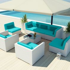 Uduka Outdoor Patio Furniture White Wicker Set Daly 8 Turquoise All Weather Couch - $1699