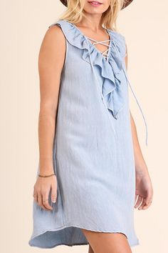 Washed Sleeveless A Line Dress with Crossed Ruffled Neckline Detail  Washed Sleeveless Dress by Umgee USA. Clothing - Dresses Texas