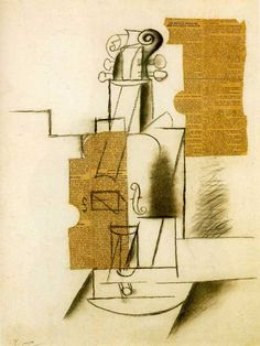 Violin, 1912, pasted paper and charcoal on paper