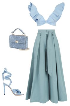 """Bleu Ciel."" by lucillefourny ❤ liked on Polyvore featuring Johanna Ortiz, Temperley London, Valentino and Altuzarra"