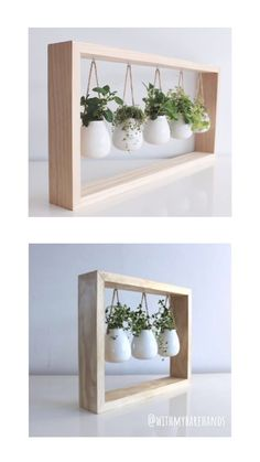These floating gardens make the perfect gift. This versatile indoor planter makes a great addition to any room. Made with a sturdy maple frame, you can set it up by the window or or hang it on the wall. Freshen up a kitchen, bathroom or living area. These planters are designed to hold any kind of small plant including air plants, aromatic herbs, and succulents. Each planter is made from polymer clay and cured to a firm finish.  #Handmadegift #housewarming #succulent #airplant