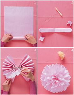 Tutorial: DIY Tissue Paper Pom-Poms this tutorial is pretty good. I learned from a coworker. Use square sheets or tissue for a rounder Pom Pom. We tied the middle with ribbon and tied several on ribbon and hung them for a backdrop. Use thin tissue paper and fluff gently.