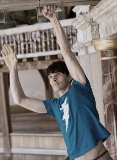 """""""Actor Colin Morgan doing parkour at the globe theatre under instruction from Blane."""""""