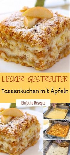 Zzutaten 1 cup soft wheat semolina 1 cup of flour 1 cup of powdered sugar 1 pck. Apple Recipes, Baking Recipes, Cake Recipes, Healthy Dessert Recipes, Powdered Sugar, Mole, Tray Bakes, Food And Drink, Tasty