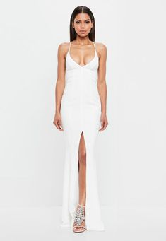 1dc47352b87 Missguided Peace + Love White Cami Maxi Dress Going Out Dresses