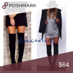 Chic Over the knee boots Faux suede super chic stretchy over the knee boots with back Lace up details . Runs big so size down . Nwt Vivacouture Shoes Over the Knee Boots