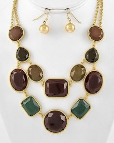 Runway Chic Vintage Green Chocolate Brown Statement Gold Jewelry Necklace Set