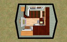 3D outside view of the 64 sq ft Lay n Low With its Widows Peak