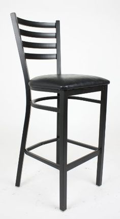 Ladder Back Metal Bar Stool with Leatherette Seat - Black Manhattan ...