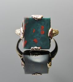 Antique Bloodstone ring with Rose Motif, Late Victorian