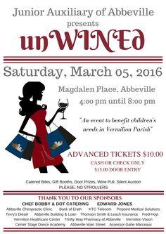 Junior Auxiliary of Abbeville presents unWINED - 4th Annual Event Poster #jaofabbeville #unWINEd #financeproject #winenight #vermilionparish #jaofabbevillepresentsunWINEd #serviceorganization