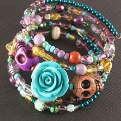 Day of the Dead Blue Rose and Skull Bracelet.