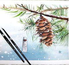 687 vind-ik-leuks, 63 reacties - Maria Raczynska💦WATERCOLORS (@maria_morjane) op Instagram: '❄️Today on my YouTube Channel - an easy watercolor painting tutorial of a pine cone ❄️🍂⛄️using…'