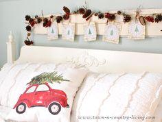 DIY Christmas Decor - stenciled tree garland - Royal Design Studio stencils -  via Town and Country Living