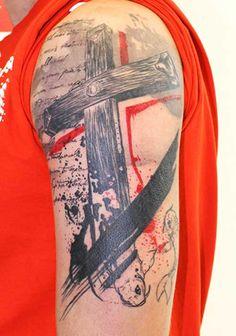 trash polka cross tattoos - Google Search