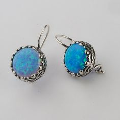 Designer Earrings Hoop 12mm Round Cabs Opal Jewelry Vintage 100% Solid Fashion for Women