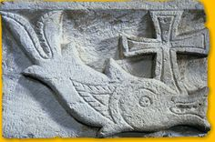 The first Christians adopted the fish as a symbol as shown in the Roman catacombs. IKHTHUS means fish in Greek, and can be interpreted as Iêsus KHristos THéou Uios Sôter, i.e. Jesus-Christ, son of the God Saviour.
