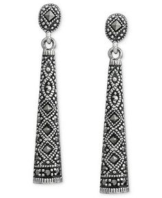 Dazzling marcasite lends these drop earrings an ornate feel. Genevieve & Grace earrings crafted in sterling silver. Marcasite Jewelry, Moonstone Jewelry, Gin Joint, Mens Sterling Silver Necklace, Jewelry Sites, Earring Crafts, Stylish Rings, Gowns Of Elegance, Jewelery