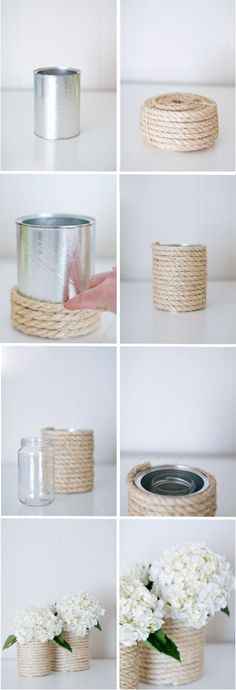 Looking for a fresh yet classic baby shower theme? Well, looks like you& found it in the form of a DIY nautical adventure! We love this theme because it work Nautical Centerpiece, Vase Centerpieces, Baby Shower Centerpieces, Vases, Wedding Centerpieces, Diy Centerpieces Cheap, Nautical Rope, Nautical Party, Do It Yourself Decoration