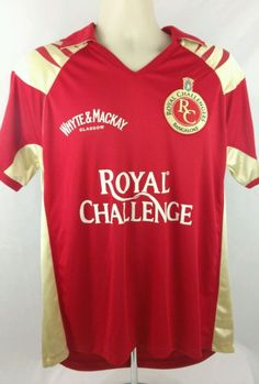 New 2008 Reebok Jersey Red Royal Challenge Bangalore Indian Cricket League Sz L
