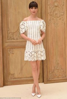 A vision in white: Model-actress Lily Collins took some time out to go to the Valentino Spring Summer 2017 show as part of Paris Fashion Week on Sunday