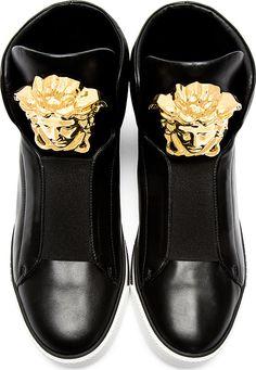 Versace: Black Leather Medusa High-Top Sneakers