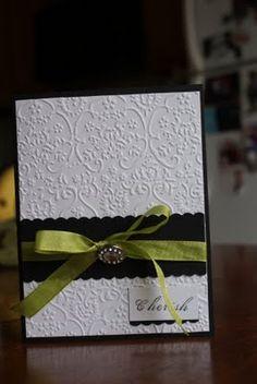 Elegant black and white card with diamond button embellishment