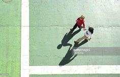 Stock Photo : Hi angle of brother and sister walking