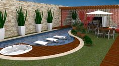 Resultado de imagen de piscina pequena com deck e churrasqueira Small Backyard Pools, Backyard Pool Designs, Small Pools, Swimming Pool Designs, Backyard Landscaping, Outdoor Spaces, Outdoor Living, Outdoor Decor, Pool Shapes