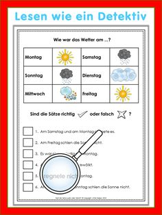 German reading challenge worksheets for your German lessons. Students have to read the sentences attentively and check the given information to decide if the sentences are true or not. This set has 24 worksheets in color and 24 worksheets in black/white. From easy to more challenging. I included all answer keys.   Diese deutschen Leserätsel eignen sich besonders gut für den DaF/DaZ Unterricht und entsprechen dem Level A1.