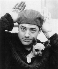 Brendan Fraser with his rescued chihuahua