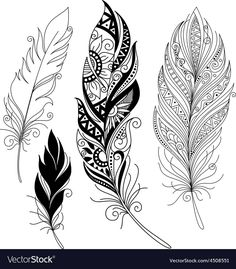 Peerless Decorative Feather Tribal Design Tattoo Download A Free Preview Or High Quality Adobe Illustrator
