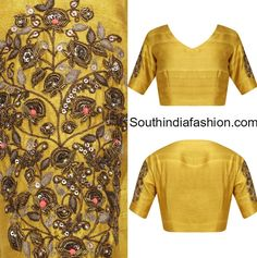Raw Silk Embroidered Blouse, southindianfashion.com via @sunjayjk