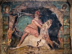 Mithras and the Bull: This fresco from the mithraeum at Marino, Italy (third century) shows the tauroctony and the celestial lining of Mithras' cape. III century.