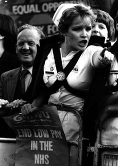 Nurse Shirley Lawson protesting against Margaret Thatcher's low pay for NHS nurses, March 1983
