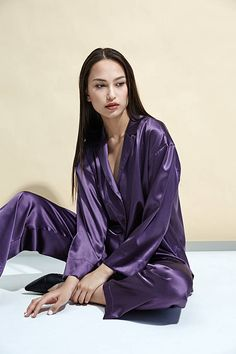 246cb3a313 Silk Pajamas Lavender Pyjama Sleep Set Natural 100% Silk Lingerie Nightwear  Homewear sleep set Gift