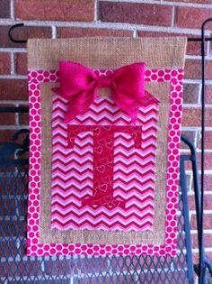 Valentine Theme Burlap Garden Flag Heart Print Monogram On Raspberry, Pink  And Fuscia Chevron Stripe