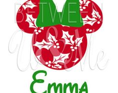 Personalized Christmas Holly Minnie Mouse with Bow Disney Iron On Decal Vinyl for Shirt