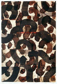 takahikohayashi: D-12.Jan.2001Monotype print, collage, painting 44x29.5cm林孝彦 HAYASHI Takahiko 2001