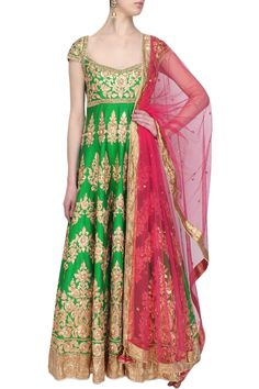 Green Anarkali With Gotta Patti Embroidery