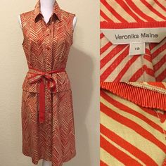 Nwot Reddish Orange Cotton Peplum Button Up Dress
