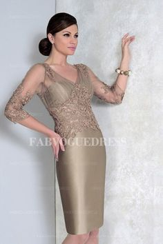 Cheap gown supplier, Buy Quality dresses sexy directly from China gown lace Suppliers: Satin Appliques Knee Length Mother of the Bride Dresses Three Quarter Evening Gown Sheath Formal vestido de madrinha Cocktail Dresses Online, Evening Dresses Online, Cheap Evening Dresses, Evening Outfits, Womens Cocktail Dresses, Evening Gowns, Dress Online, Evening Party, Mother Of Groom Dresses