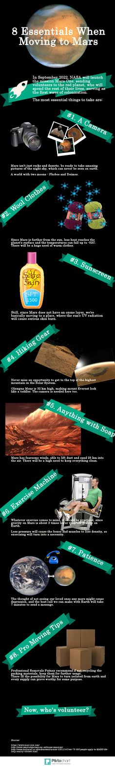 8 Essentials When Moving to Mars   #infographic  #Mars #Space